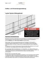 Aufbau- und Verwendungsanleitung Layher System-Gittergeländer