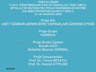 Proje Adı ASİT YAĞMURLARININ BİTKİ YAPRAKLARI ÜZERİNE ...