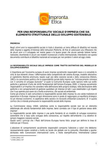 Manifesto per la responsabilità sociale - Impronta Etica
