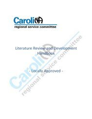 Lit Review and Development Handbook - Narcotics Anonymous