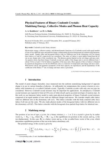 Physical Features of Binary Coulomb Crystals: Madelung Energy ...