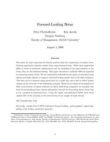 Forward-Looking Betas - The University of Chicago Booth School of ...