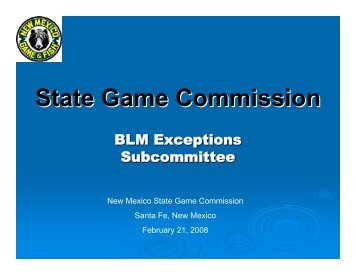 State Game Commission - New Mexico Game and Fish