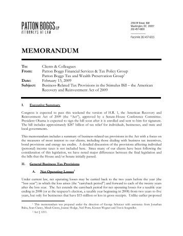 Memo on Business-Related Tax Provisions from Patton - American ...