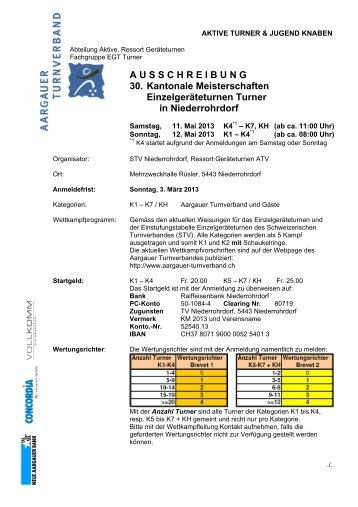 A U S S C H R E I B U N G 30. Kantonale Meisterschaften ...