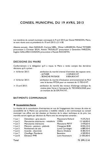 CONSEIL MUNICIPAL DU 19 AVRIL 2013 - Saint-Genest-Malifaux