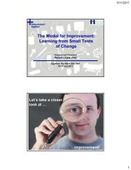 The Model for Improvement: Learning from Small ... - Sikker Patient