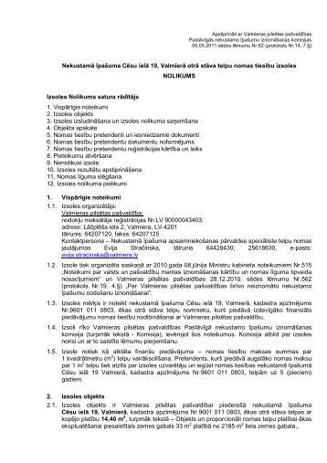 Nomas tiesību izsoles nolikums - Valmiera