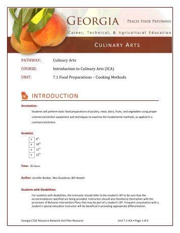 7.1 Food Preparations – Cooking Method - Georgia CTAE