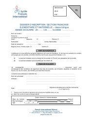 Dossier d'inscription au Primaire (Elémentaire et Maternelle)