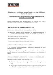 Criterios para establecer la clasificación mundial 2009 de la libertad ...