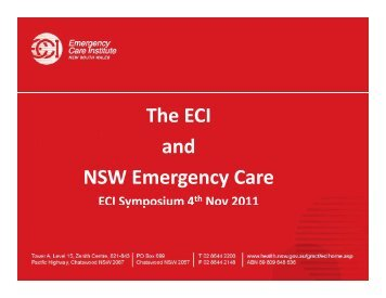 The ECI and NSW Emergency Care - Emergency Care Institute