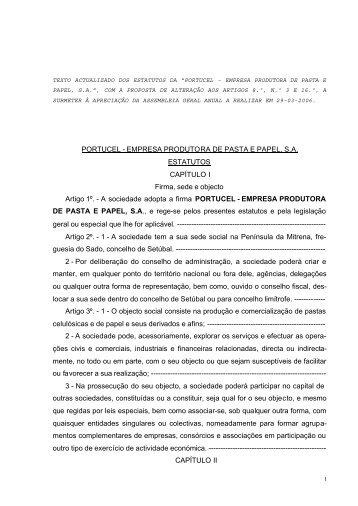 Estatutos da PORTUCEL SA - com proposta de alteração à AG …