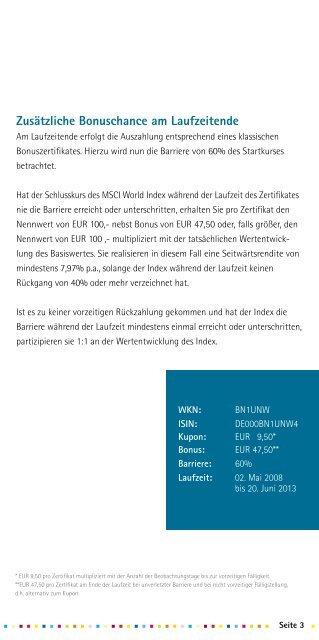 MSCI World Express Bonus Zertifikat - BNP Paribas