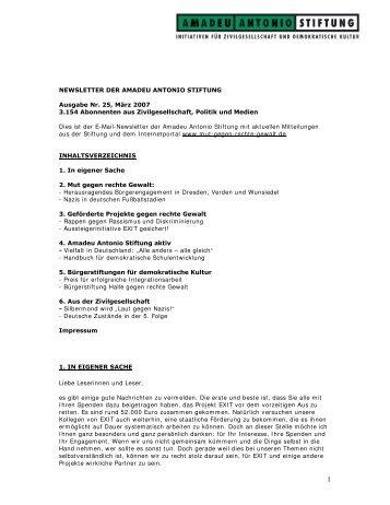 Ausgabe Nr. 25, März 2007 - Amadeu Antonio Stiftung