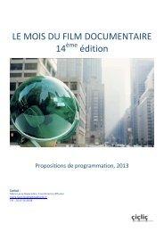 Propositions de programmation 2013 - Le Mois du Film Documentaire