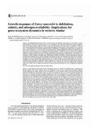 Growth responses of Carex ramenskii to defoliation, salinity, and ...