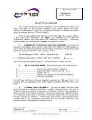 Aircraft Purchase Contract - Purple Wave, Inc.