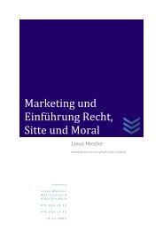 Marketing und Einführung Recht, Sitte und Moral - limenet.ch