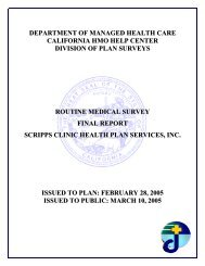 Scripps Clinic Health Plan Services, Inc. Final Report of Routine ...