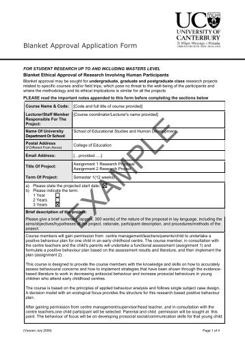 Example Blanket Application Form - University of Canterbury