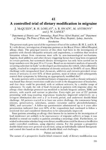 41 A controlled trial of dietary modification in migraine