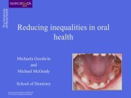 Reducing inequalities in oral health