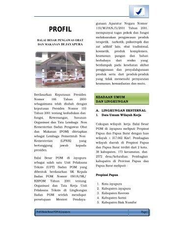 PROFIL - Informasi Obat - Badan POM