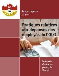 Pratiques relatives aux dépenses des employés de l'OLG (Rapport ...