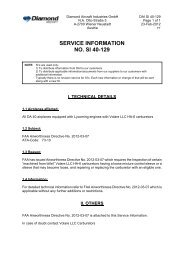 SERVICE INFORMATION NO. SI 40-129 - Diamond Aircraft