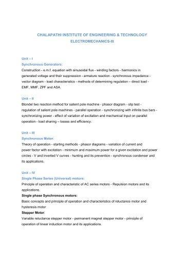 Electro Mechanics - III - chalapathi institute of engineering and ...