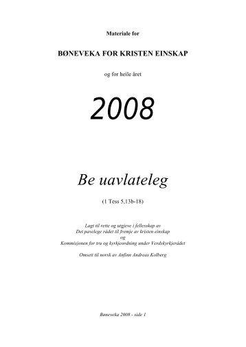 bøneveka for kristen einskap - Norges Kristne Råd