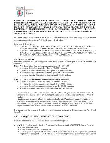 Bando per l'assegnazione delle borse di studio - Integrazione Migranti