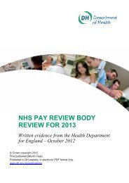 NHS PAY REVIEW BODY REVIEW FOR 2013 - Health Service Journal