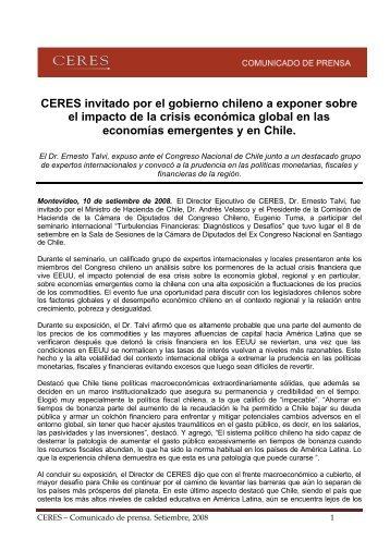 CERES - Comunicado de Prensa 10 de setiembre de 2008