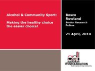 Alcohol & Community Sport: Making the healthy choice ... - DrugInfo