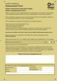 Health & Wellbeing: Assessment Form - Devon Home Choice