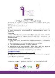 convocatoria carteles cientificos y trabajos libres - Congresos Médicos