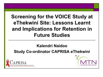NAIDOO: Screening for the VOICE Study at eThekwini Site