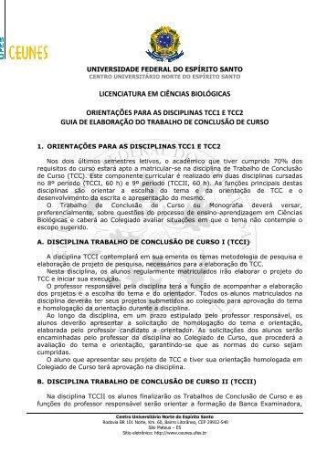 licenciatura em ciências biológicas orientações para as ... - CEUNES