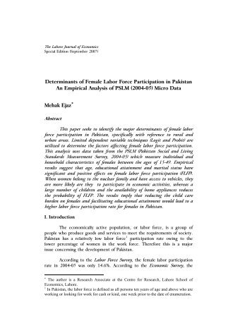 Determinants of Female Labor Force Participation in Pakistan , An ...