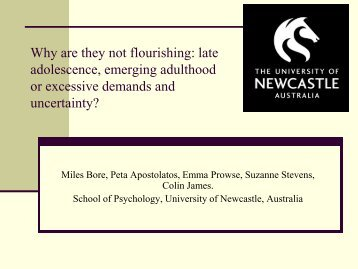 Why are they not flourishing: late adolescence, emerging adulthood ...