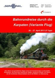 Bahnrundreise durch die Karpaten (Variante Flug) 20 ... - SERVRail