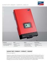 SMA SB2000HF, SB2500HF, SB3000HF Datenblatt - AS Solar GmbH