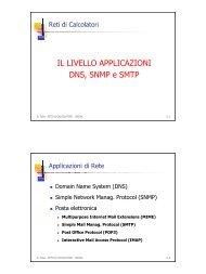 IL LIVELLO APPLICAZIONI DNS, SNMP e SMTP