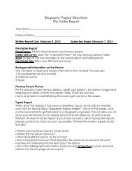 Biography Project Directions File Folder Report - Sharyland ISD