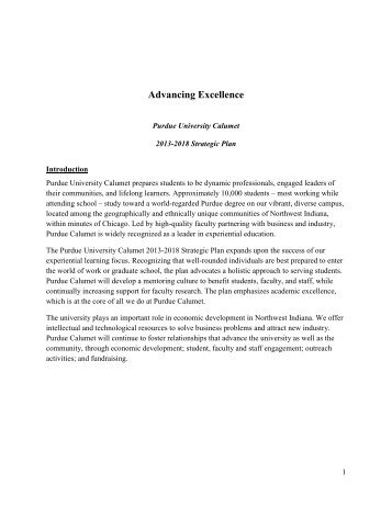 Strategic Plan for 2013-2018 - Purdue University Calumet