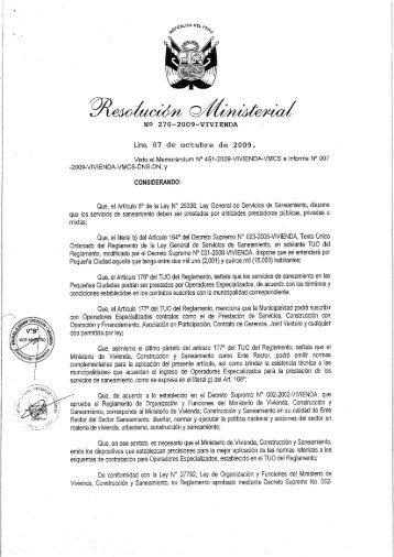 rm nº 270-2009-vivienda - Ministerio de Vivienda, Construcción y ...