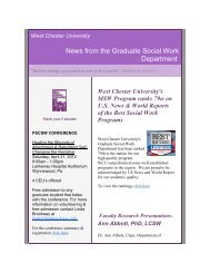News from the Graduate Social Work Department - West Chester ...