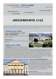 6 - 9 JUILLET 2012 > WE ART in KASSEL À partir de 562 €*